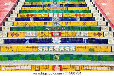 RIO DE JANEIRO - CIRCA NOV 2014: Escadaria Selaron in Rio de Janeiro, Brazil. The stairway is famous work of Chilean artist Jorge Selaron.
