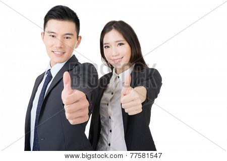 Smiling asian business man and woman gives you thumbs up gesture. Closeup portrait.