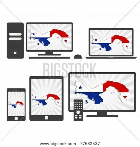 Electronic Devices With The Map Of Panama