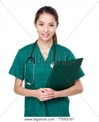 Asian Doctor with clipboard
