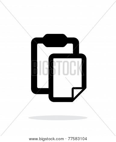 Clipboard with file simple icon on white background.