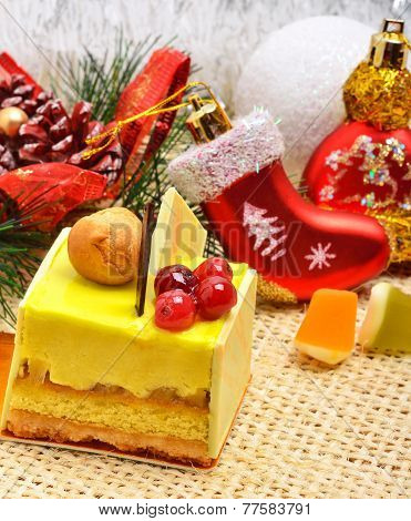 Christmas Delicious Yellow Cake With Cranberries On Christmas Background