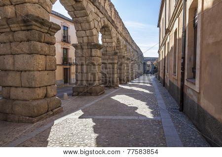 The Ancient, Roman aqueduct in Segovia, Spain