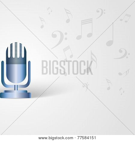 Music Background With Microphone And Musical Notes