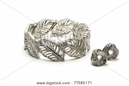Silver Bracelet & Earrings