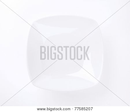 white square soup plate on white background