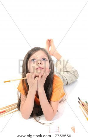 Long-haired Girl With Pencil In Hand.