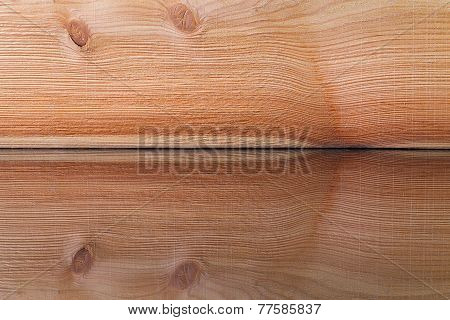 Realistic Wood Veneer With Interesting Growth Rings On The Glass Desk