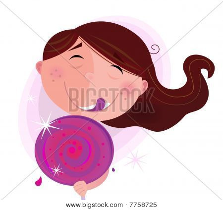 Small child with lollipop isolated on white background