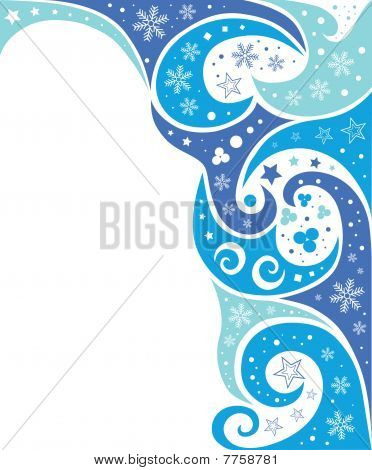 abstract blue waves and snow