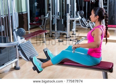 low pulley rows woman wide grip seated girl workout gym exercise