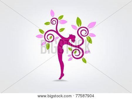 Green Healthy  Woman Balance Curl Logo