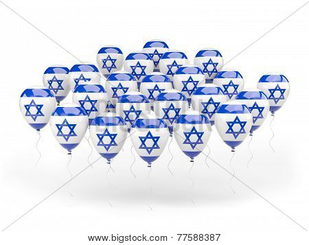Balloons With Flag Of Israel