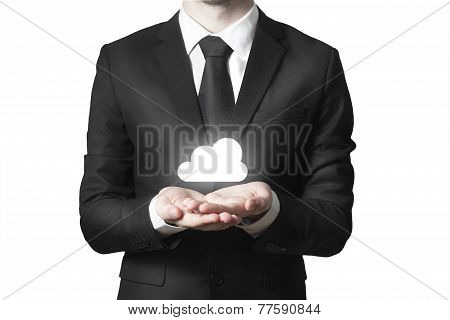 Businessman Serving Gesture Cloud Symbol