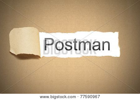 Brown Paper Torn To Reveal Postman