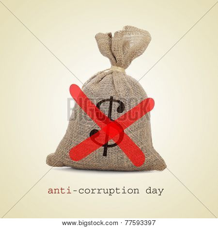a burlap money bag with two diagonal red slashes for the anti-corruption day