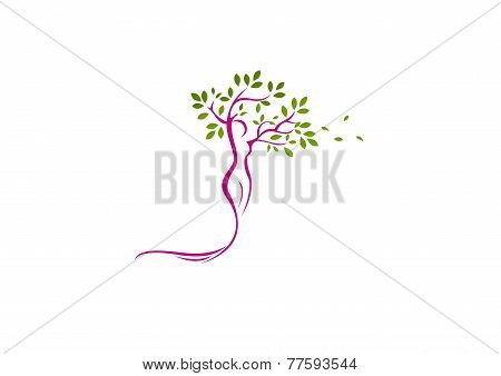 growth of healthy beauty symbol logo design
