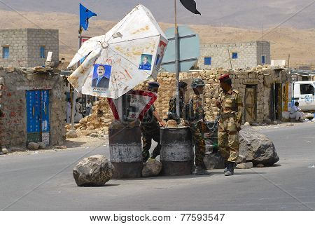 Yemeni military on duty at the security checkpoint, Hadramaut valley, Yemen.