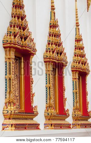 Windows From Temple Wat Chalong In Phuket