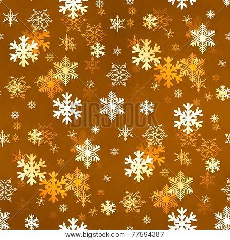 Golden Snowflakes Background