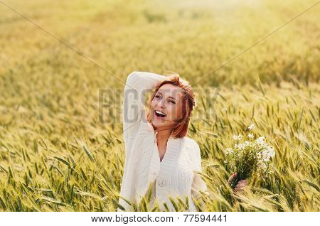 Young Happy Smiling Woman Enjoy Harmony Of Nature In Sunny Day