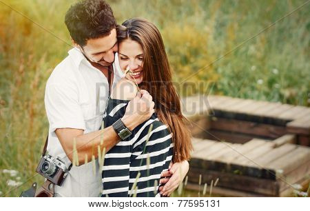 Happy Romantic Couple In Love And Having Fun With Daisy, Beauty Of Nature, Harmony Concept