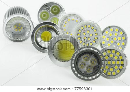 Some Gu10 Led Bulbs With Different Sizes Of Chips And Cooling