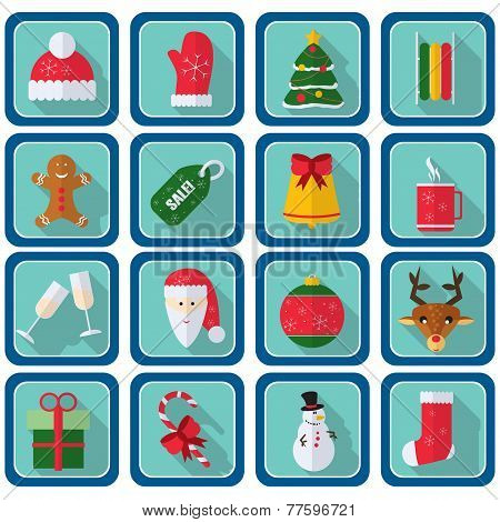 Christmas Icons, Flat Style. Square Buttons With New Year Items