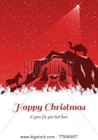 Happy Christmas against nativity scene vector under starry sky