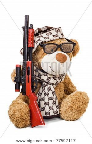 Teddy Bear In Cap And Scarf With Rifle