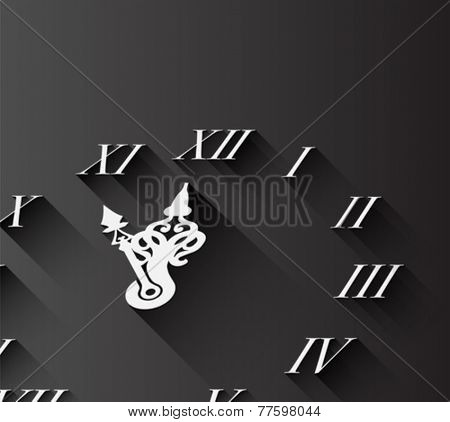 Digitally generated Roman numeral clock on black