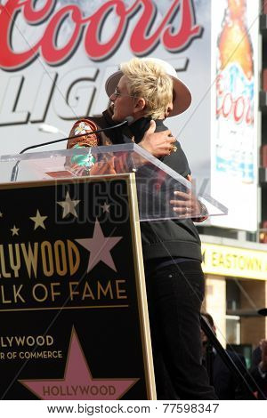 LOS ANGELES - DEC 4:  Pharrell Williams, Ellen DeGeneres at the Pharrell Williams Hollywood Walk of Fame Star Ceremony at the W Hotel Hollywood on December 4, 2014 in Los Angeles, CA