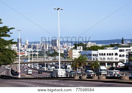 View Of Durban Cbd With Harbour In Background