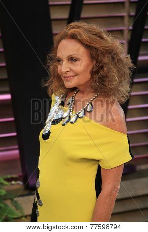 LOS ANGELES - MAR 2:  Diane Von Furstenberg at the 2014 Vanity Fair Oscar Party at the Sunset Boulevard on March 2, 2014 in West Hollywood, CA