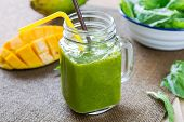 stock photo of mango  - Mango with Banana and Spinach smoothie - JPG