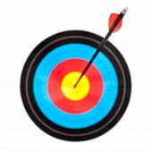 stock photo of fletching  - Archery target with arrow in the bullseye focus on arrow fletching - JPG