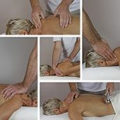 picture of prone  - Five different techniques of Sports Massage performed by male therapist working on mature female client in prone position on couch - JPG