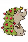 stock photo of kawaii  - Vector illustration of cute kawaii Christmas hedgehog - JPG