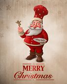 stock photo of gingerbread man  - Santa Claus pastry cook with gingerbread man cookies greeting card - JPG