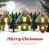 pic of quaint  - Merry Christmas against quaint town with bright moon - JPG
