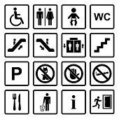 foto of internet-cafe  - Vector black public icons set with toilet - JPG