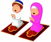 picture of muslim kids  - illustration of Muslim kid praying isolated on white - JPG