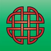 stock photo of triquetra  - Celtic endless knot red on a green background - JPG