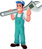 picture of dungarees  - illustration of Cartoon mechanic holding a huge wrench - JPG