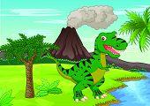 image of tyrannosaurus  - illustration of Prehistoric scene with tyrannosaurus cartoon - JPG