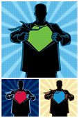 picture of superhero  - Silhouette of superhero under cover with copy space for your logo on his chest - JPG