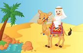 pic of camel  - illustration of Arab boy riding camel isolated on white vector - JPG