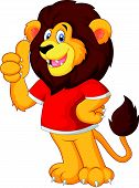 stock photo of cheeky  - illustration of Cute cartoon lion giving thumb up vector - JPG