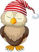 stock photo of animated cartoon  - illustration of Cartoon owl sleeping isolated on white - JPG