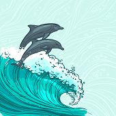 stock photo of dolphins  - Waves flowing water sketch sea ocean and two dolphins colored background vector illustration - JPG